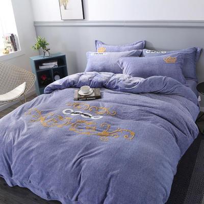 2019新款高克重加厚牛奶雪花绒雕花绒四件套 1.5m床单款 可可-蓝紫