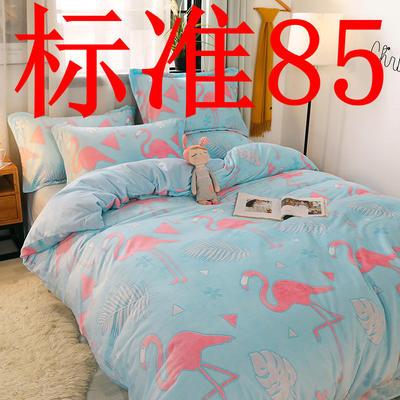 2019新款6D雕花绒四件套 1.5m床单款 快乐火烈鸟(蓝)
