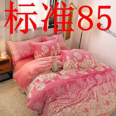 2019新款6D雕花绒四件套 1.5m床单款 富贵牡丹