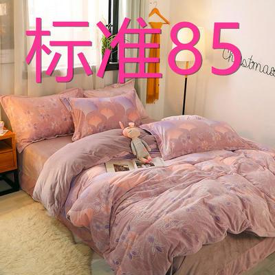2019新款6D雕花绒四件套 1.5m床单款 一叶知秋咖