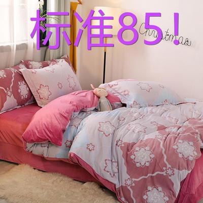 2019新款6D雕花绒四件套 1.5m床单款 芳华(豆沙)