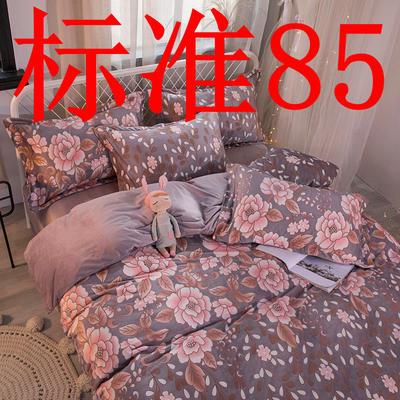 2019新款6D雕花绒四件套 1.5m床单款 花颜 紫