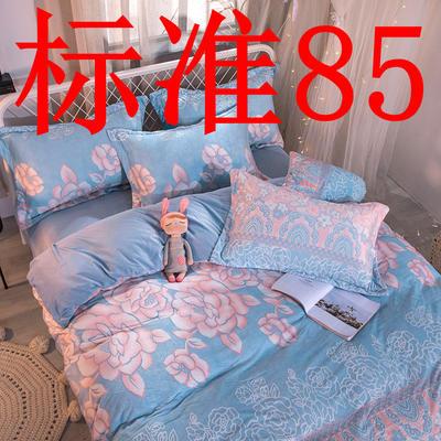 2019新款6D雕花绒四件套 1.5m床单款 花开牡丹-蓝