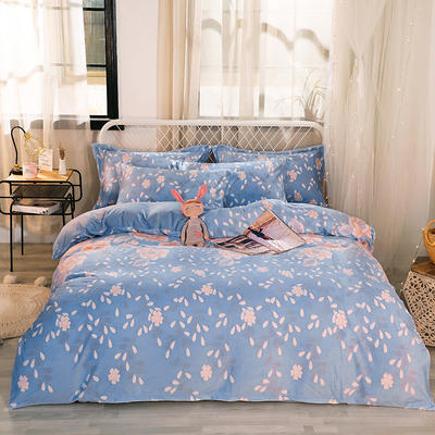 2019新款6D雕花绒四件套 1.5m床单款 花颜-蓝青