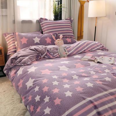 2020新款6D雕花绒四件套 1.5m床单款四件套 魅力星光紫