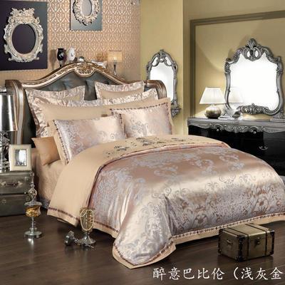 慕絲 床單vs床蓋 同款4-7件套 標準床單四件套 醉意巴比倫-淺灰金