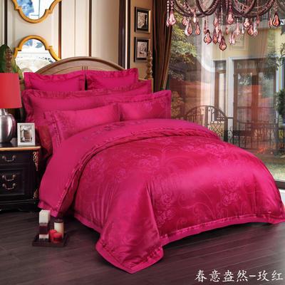 慕絲 床單vs床蓋 同款4-7件套 標準床單四件套 春意盎然-玫紅