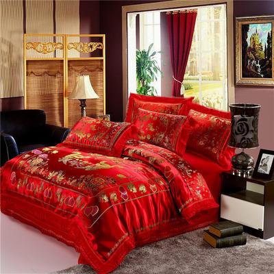 复古绸缎婚庆四件套 传统婚礼必备 1.8m(6英尺)床 龙凤鸳鸯-大红