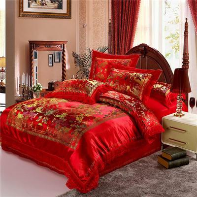 復古綢緞婚慶四件套 傳統婚禮必備 1.8m(6英尺)床 風景百子圖-大紅