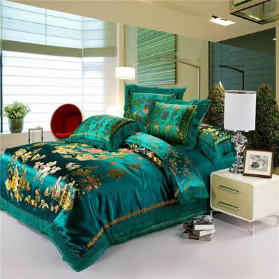 復古綢緞婚慶四件套 傳統婚禮必備 1.8m(6英尺)床 龍鳳百子圖-綠