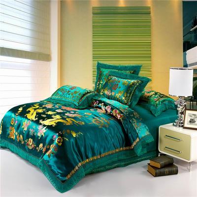 復古綢緞婚慶四件套 傳統婚禮必備 1.8m(6英尺)床 龍鳳雙喜-綠