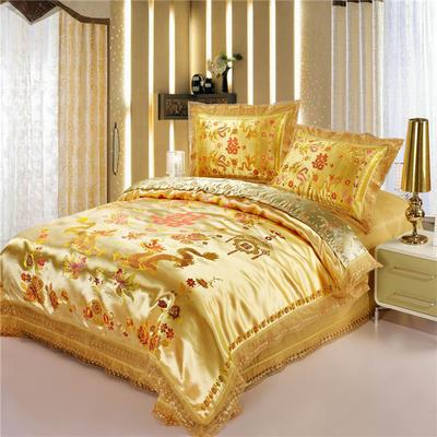 復古綢緞婚慶四件套 傳統婚禮必備 1.8m(6英尺)床 龍鳳雙喜-泥金