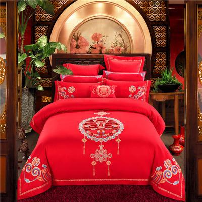 蒲公英☆☆☆ 婚庆四件套多件套-全棉绣花 特价系列 标准床盖八件套 中国风采