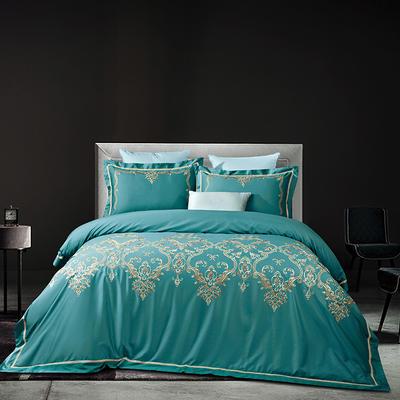 60长绒棉贡绣花  居家简欧风四件套 标准床单款四件套 克洛丽