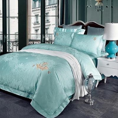 60长绒棉贡绣花  居家简欧风四件套 标准床单款四件套 索菲-冰蓝