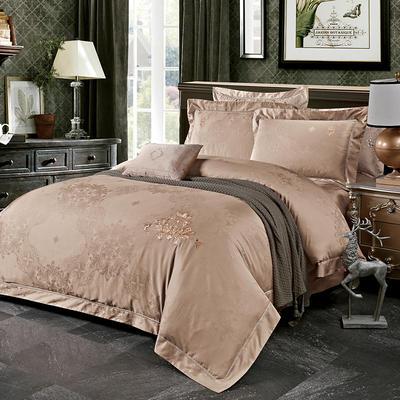 60长绒棉贡绣花  居家简欧风四件套 标准床单款四件套 索菲-咖
