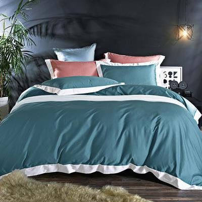60长绒棉贡绣花  居家简欧风四件套 标准床单款四件套 水榭听香-珊瑚绿