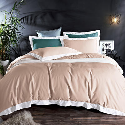 60長絨棉貢繡花  居家簡歐風四件套 標準床單款四件套 水榭聽香-卡其