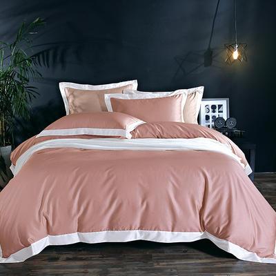 60长绒棉贡绣花  居家简欧风四件套 标准床单款四件套 水榭听香-豆沙
