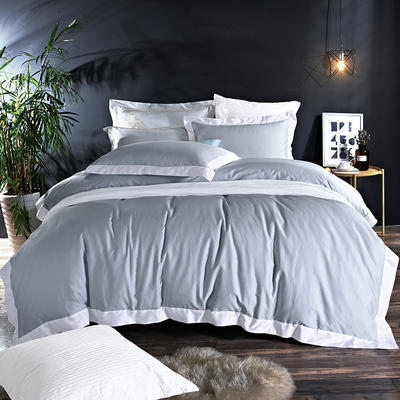 60長絨棉貢繡花  居家簡歐風四件套 標準床單款四件套 水榭聽香-銀灰