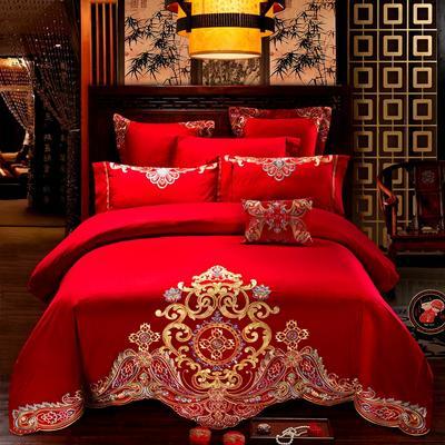 60长绒棉绣花婚庆四件套/多件套 1.5m/1.8m 床 至尊红颜