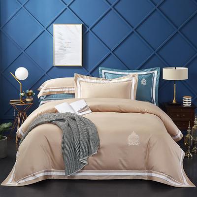 2019新款居家长绒棉系列-七星系列四件套 1.5m-1.8m 凯尔维特-卡其