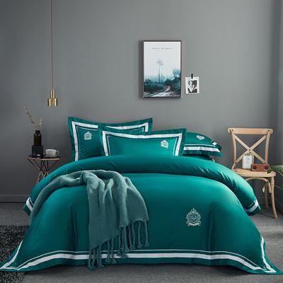 2019新款居家長絨棉系列-七星系列四件套 1.5m-1.8m 凱爾維特-孔雀綠