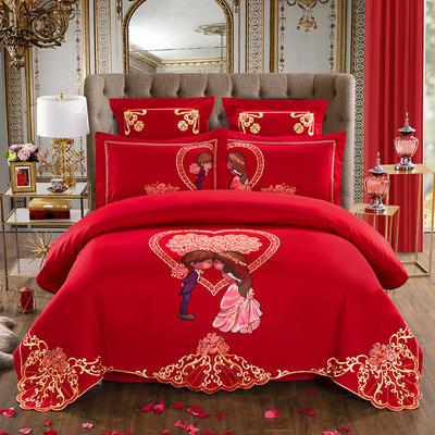 2019新款全棉绣花系列多件套 1.5-1.8m +夹棉床盖1条8件套 甜蜜盛典