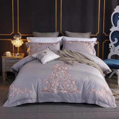 2020新款60長絨棉  居家四件套-睿系列 1.5m(5英尺)床單款 拉菲花園奧汀灰