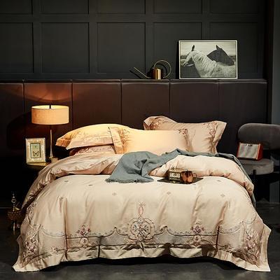 2020新款60長絨棉  居家四件套-睿系列 1.5m(5英尺)床單款 花漫香緹-淺駝