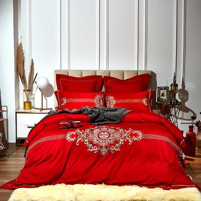 2020新款60S 长绒棉提花 婚庆套件 1.5m床单款四件套 红妆