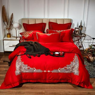 2020新款60長絨棉繡花系列四件套 1.5m床單款四件套 普羅旺斯-紅