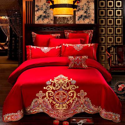 2020新款全棉绣花系列婚庆多件套 标准四件套 至尊红颜