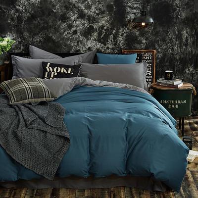 全棉13372纯色素色双拼系列四件套 1.8米床笠款 宝蓝灰