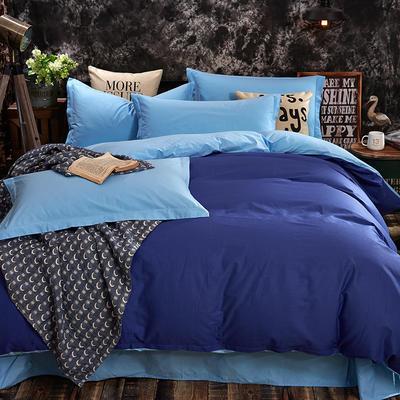 全棉13372纯色素色双拼系列四件套 加大号 深蓝浅蓝