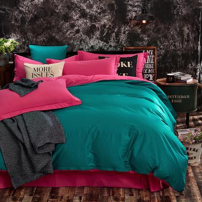 全棉13372纯色素色双拼系列四件套 标准号 水绿胭脂红