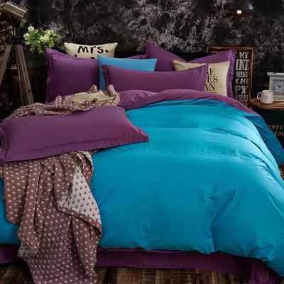 全棉13372纯色素色双拼系列四件套 加大号 天蓝紫