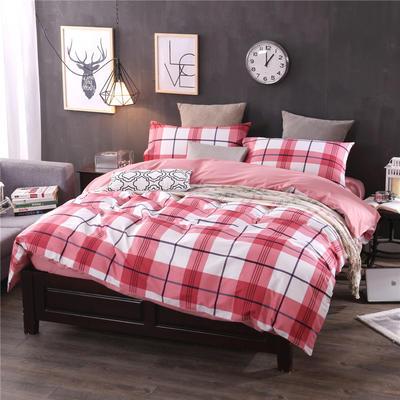 全棉13372良品风简约北欧四件套精梳棉系列 标准号(适用1.5-1.8米床) 都市小调-红