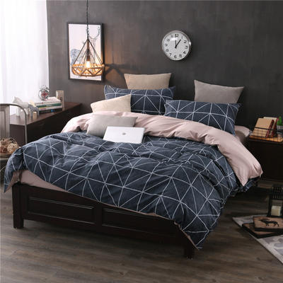 全棉13372良品风简约北欧四件套精梳棉系列 标准号(适用1.5-1.8米床) 卡洛时光-灰