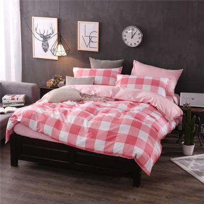 全棉13372良品风简约北欧四件套精梳棉系列 标准号(适用1.5-1.8米床) 让爱降临-粉