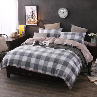 全棉13372良品风简约北欧四件套精梳棉系列 标准号(适用1.5-1.8米床) 让爱降临-灰