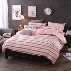 全棉13372良品风简约北欧四件套精梳棉系列 标准号(适用1.5-1.8米床) 绅士条纹-咖