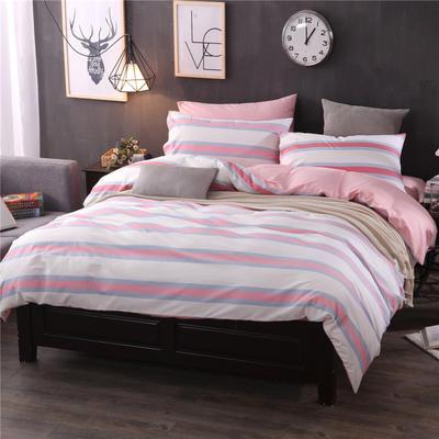 全棉13372良品风简约北欧四件套精梳棉系列 标准号(适用1.5-1.8米床) 星空交响-红