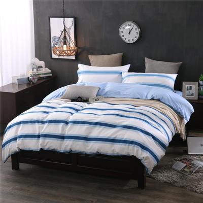 全棉13372良品风简约北欧四件套精梳棉系列 标准号(适用1.5-1.8米床) 星空交响-兰