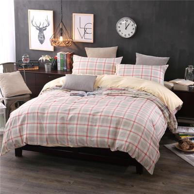 全棉13372良品风简约北欧四件套精梳棉系列 标准号(适用1.5-1.8米床) 悠闲时光-红