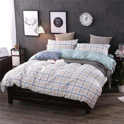全棉13372良品风简约北欧四件套精梳棉系列 标准号(适用1.5-1.8米床) 悠闲时光-兰