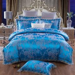 全棉欧式莫代尔蕾丝花边四件套 贡缎提花大红系列系列 1.5m(5英尺)床 欧香迷情-梦之蓝