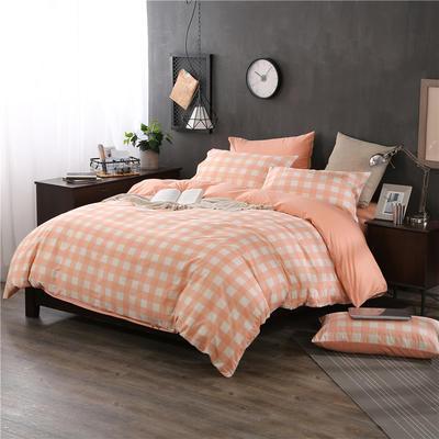 全棉13372良品风简约北欧四件套精梳棉系列 标准号(适用1.5-1.8米床) 浮华涌动-红