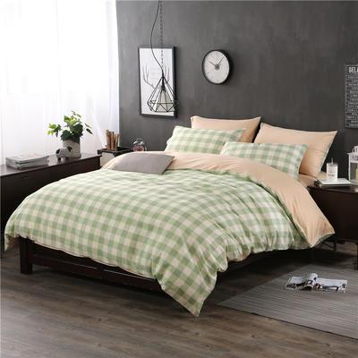 全棉13372良品风简约北欧四件套精梳棉系列 标准号(适用1.5-1.8米床) 浮华涌动-绿