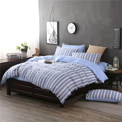 全棉13372良品风简约北欧四件套精梳棉系列 标准号(适用1.5-1.8米床) 信条主义-蓝
